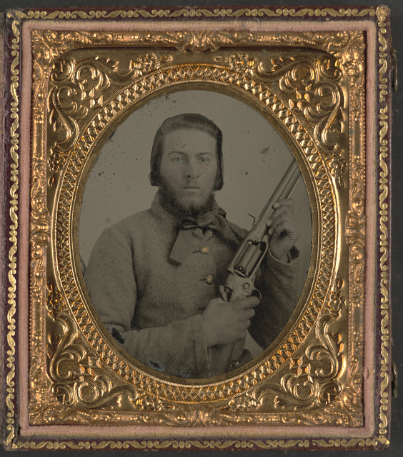 [Unidentified soldier from North Carolina with Model 1855 Colt revolving rifle]