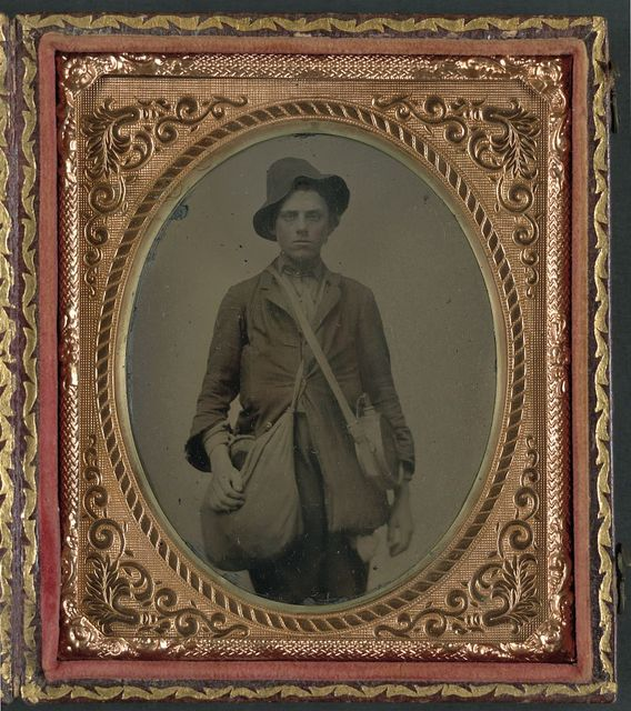 [Unidentified soldier in Confederate uniform with Gardner patent canteen and haversack]