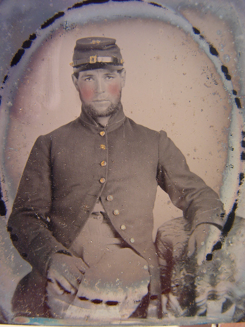[Unidentified soldier in Union frock coat and forage cap]