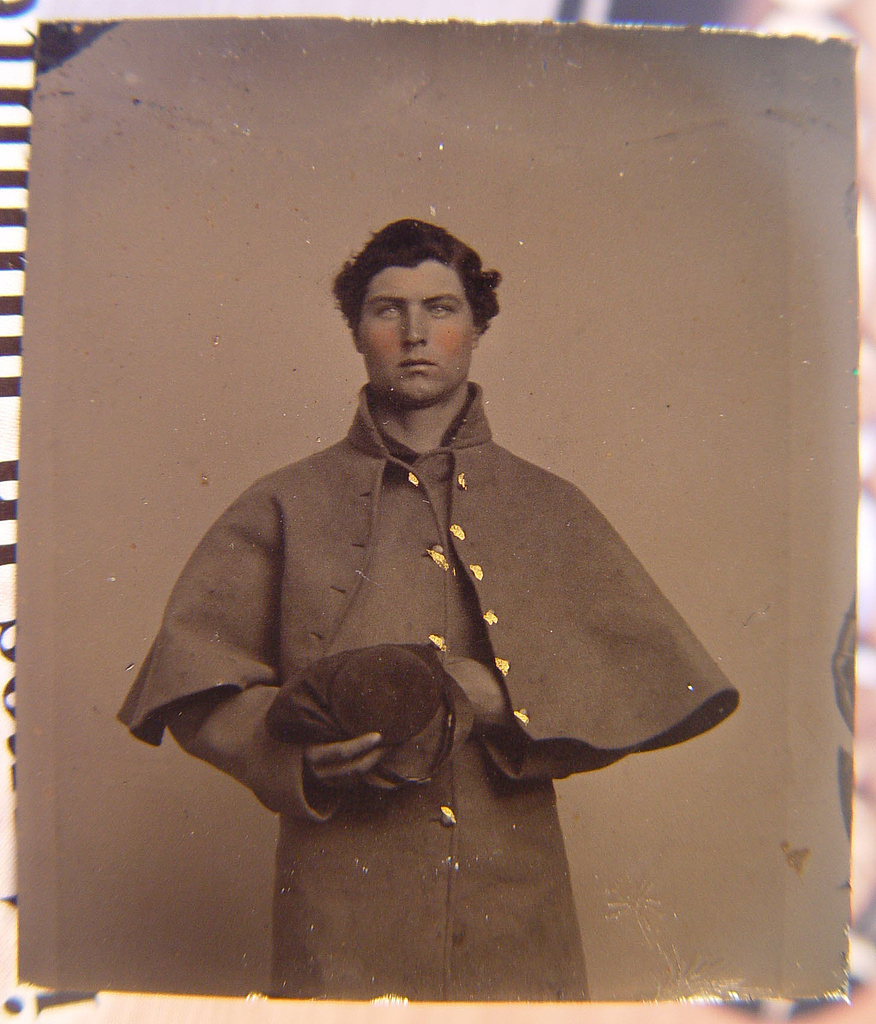 [Unidentified soldier in Union greatcoat with forage cap]