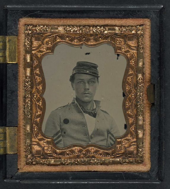 [Unidentified soldier in Union sergeant's uniform and forage cap in S. Peck & Co. Union case]