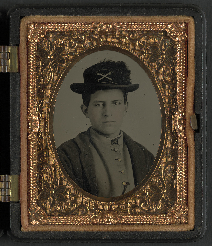 [Unidentified soldier in Union uniform and hat with cavalry insignia]