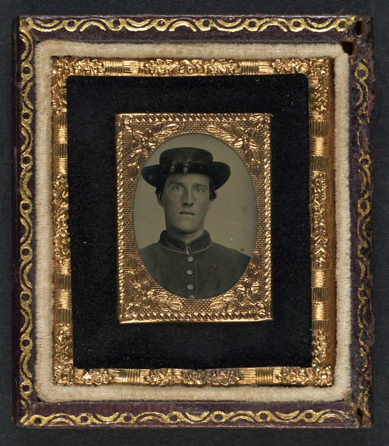 [Unidentified soldier in Union uniform and officer hat cords]