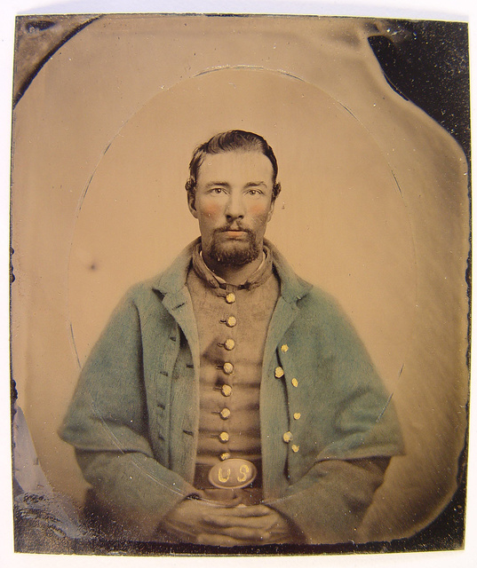 [Unidentified soldier in Union uniform with greatcoat]
