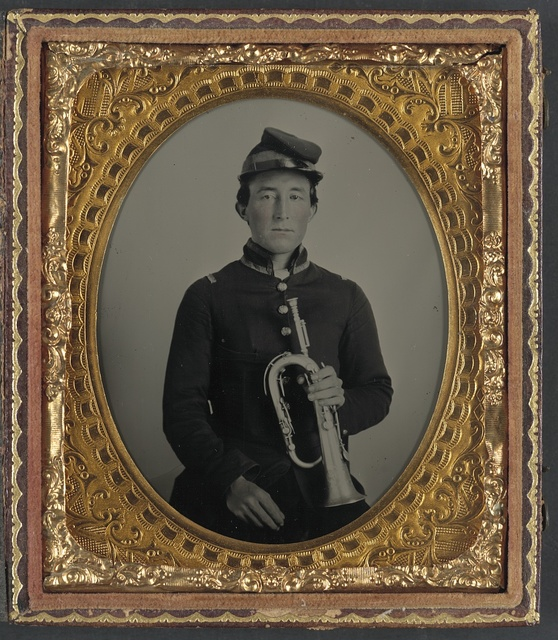 [Unidentified soldier in Union uniform with keyed bugle]