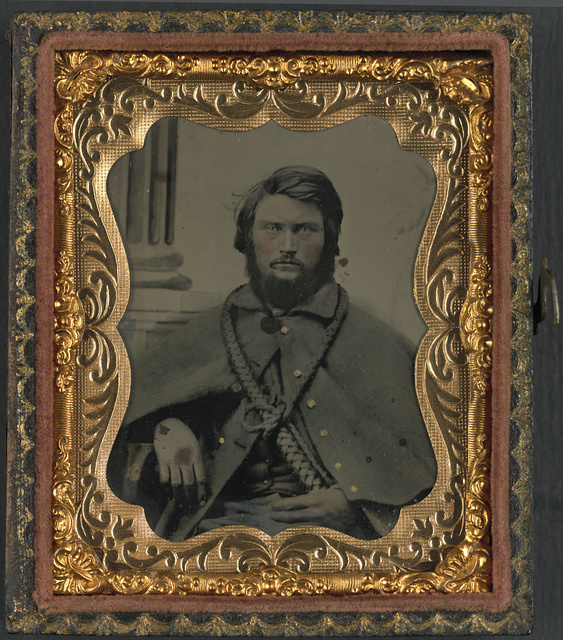 [Unidentified soldier in Union uniform with teamster's bullwhip]