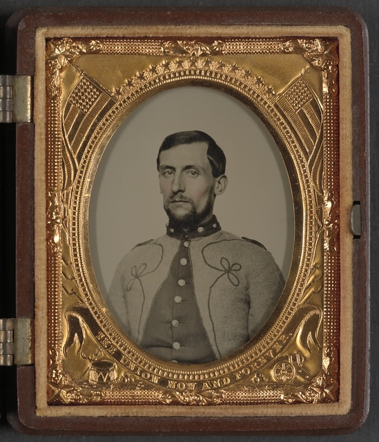 [Unidentified soldier in Union Zouave's uniform] / From J. Whites's Ambrotype and Photograph Gallery, 224 Essex Street, (Up only one flight of stairs,) Salem, Mass.