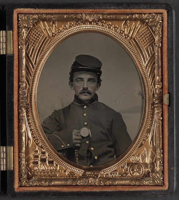 [Unidentified soldier, possibly Private Florentine Ariosto Jones of Co. A, 13th Massachusetts Infantry Regiment, in Union uniform with pocket watch]