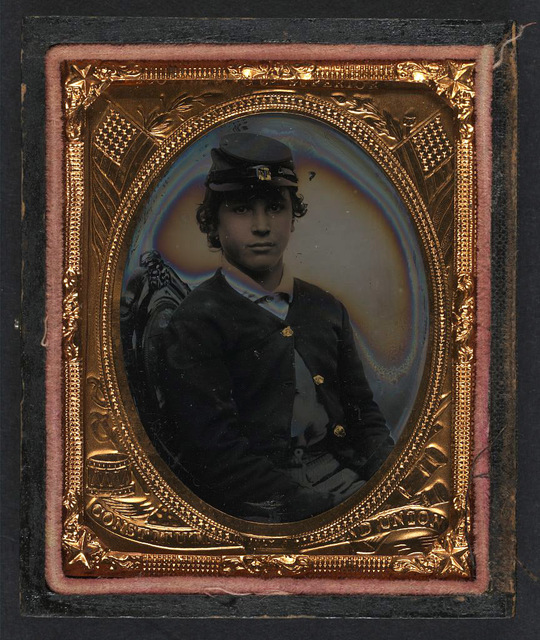 [Unidentified young soldier in Union sack coat and forage cap]