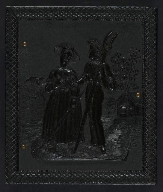 [Union case for daguerreotype, ambrotype, or tintype showing male and female figures with tools on a farm landscape]