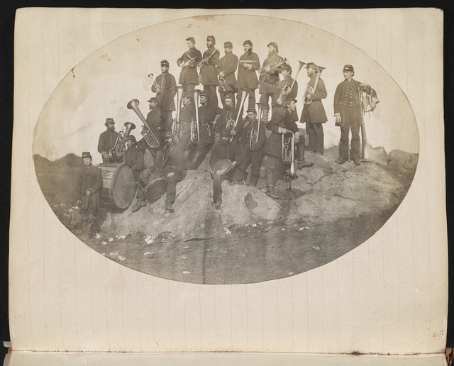 [Union saxhorn and drum musicians probably at Camp Griffin, Langley, Virginia]