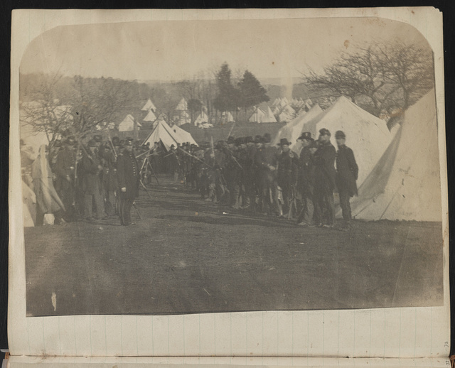 [Union soldiers in front of tents, probably at Camp Griffin, Langley, Virginia]