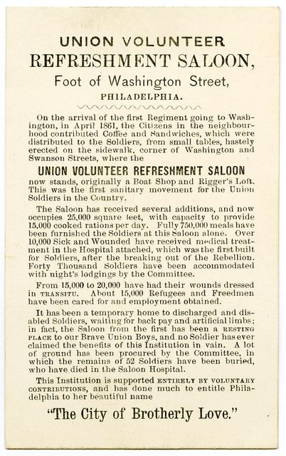 Union Volunteer Refreshment Saloon, foot of Washington Street, Philadelphia