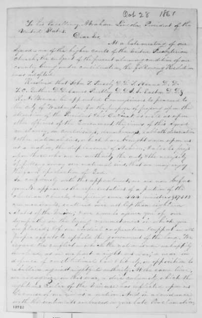 United Presbyterian Synod to Abraham Lincoln, Monday, October 28, 1861  (Resolutions; endorsed by Abraham Lincoln)
