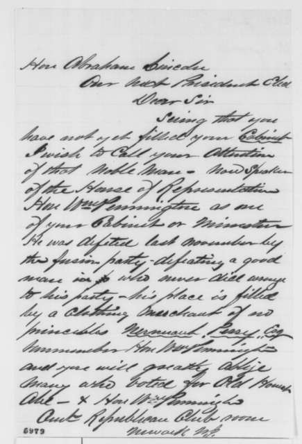 Unknown. to Abraham Lincoln, January 1861  (Recommends William Pennington for cabinet)