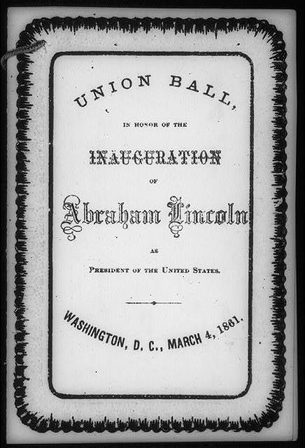 [Unused copy of the dance cards prepared for the Union Ball in honor of the inauguration of Abraham Lincoln on March 4, 1861: cover]