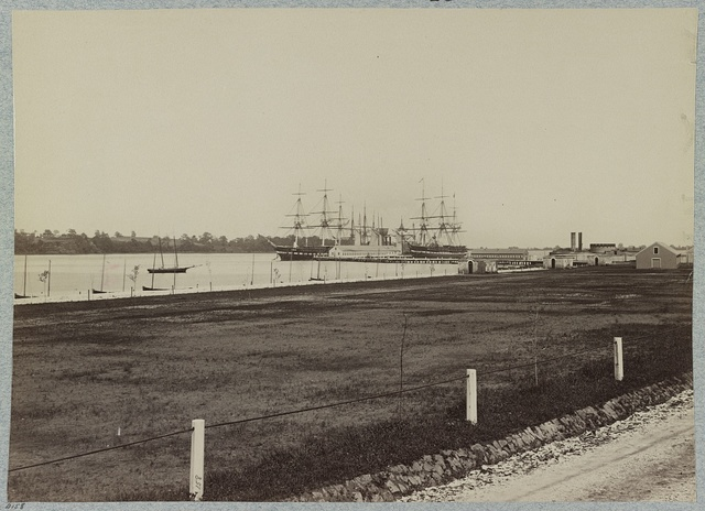 U.S. frigates Constitution and Santee at Naval Academy, Annapolis, Maryland