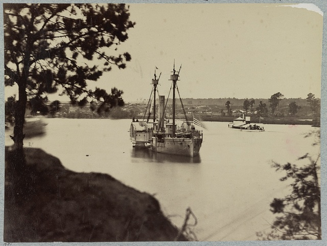 U.S. gunboat Agawam and the monitor Saugus, James River, Va.