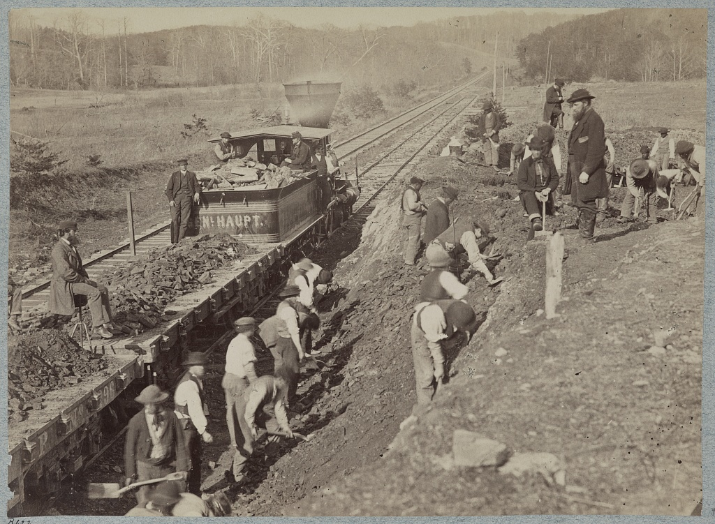 U.S. Military Railroad Construction Corps repairing Orange and Alexandria R.R. at Devereux Station