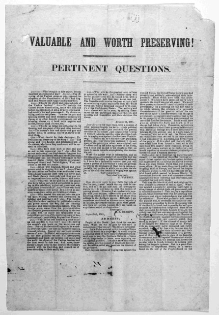 Valuable and worth preserving! Pertinent questions. [Louisiana 1861].