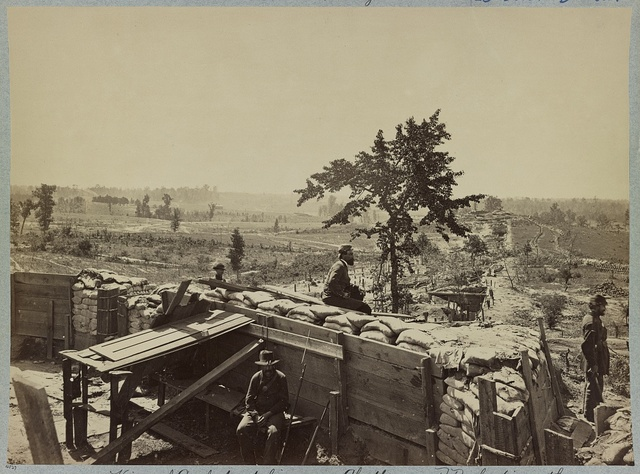 View of Confederate lines, near Chattanooga R.R. looking south, Atlanta, Georgia