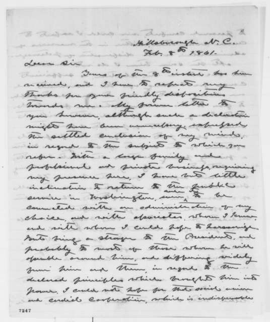 W. A. Graham to Isaac Newton, Friday, February 08, 1861  (Union supporter in North Carolina)