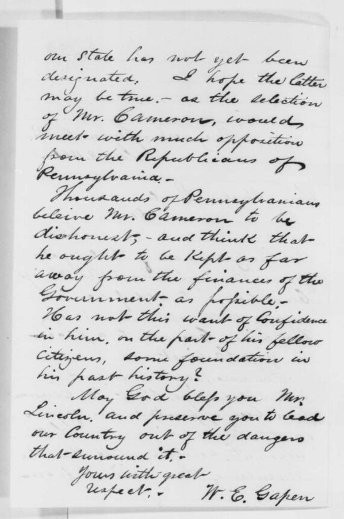 W. E. Gapen to Abraham Lincoln, Tuesday, January 08, 1861  (Opposes Cameron)