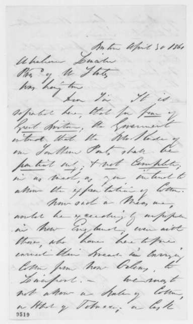 W. F. Weld & Co. to Abraham Lincoln, Tuesday, April 30, 1861  (Blockade of Southern ports)