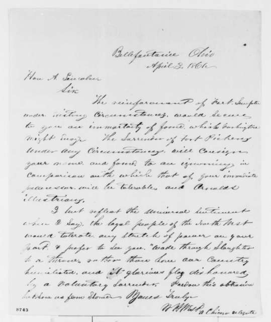 W. H. West to Abraham Lincoln, Wednesday, April 03, 1861  (Fort Sumter)