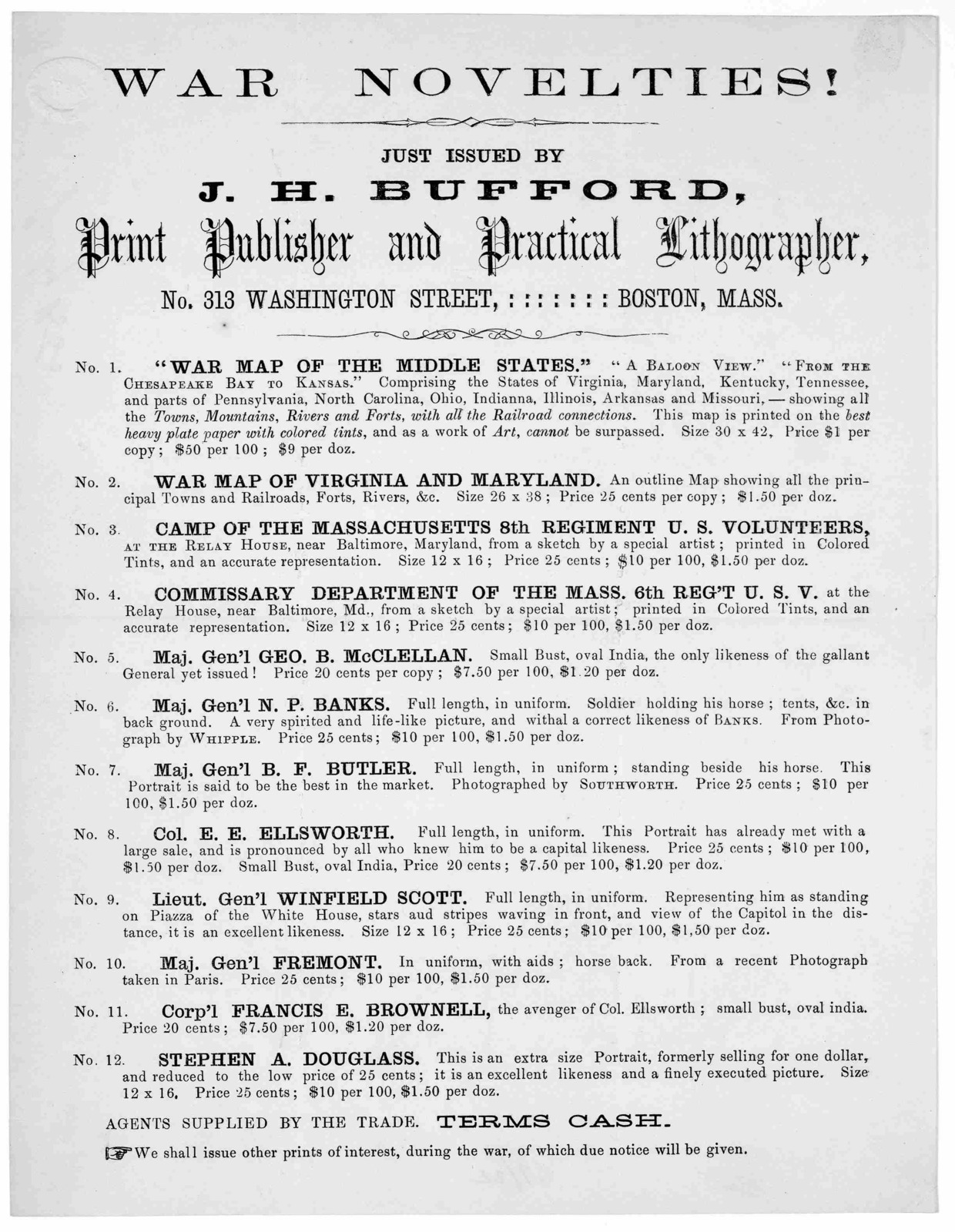 War novelties! Just issued by J. H. Bufford, print publisher and practical lithographer, No. 313 Washington Street. Boston, Mass ... Terms cash. [1861].