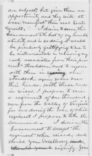 Ward H. Lamon to Abraham Lincoln, Monday, May 27, 1861  (Requests permission to raise regiment in Virginia)