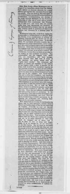Washington, D. C. Military Defense, Wednesday, May 01, 1861  (Printed Article)