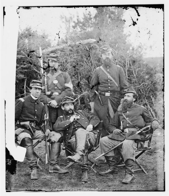 Washington, District of Columbia. Group of officers and soldier of 31st Penn. Inf. (later, 82d Penn. Inf. at Queen's farm, vicinity of Fort Slocum)