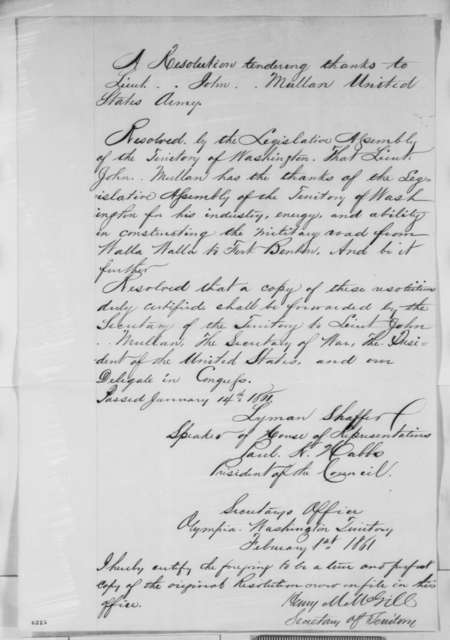 Washington Territory Legislature, Monday, January 14, 1861  (Resolution thanking John Mullan)