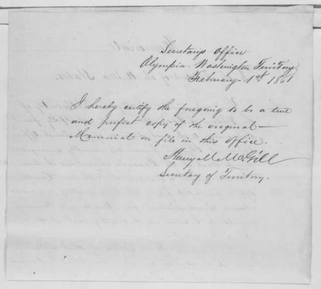 Washington Territory Legislature to James Buchanan, Thursday, January 24, 1861  (Resolution requesting relocation of land office)