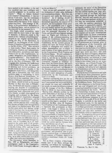 West Virginia Constitutional Convention, Wednesday, May 22, 1861  (Clipping Only)