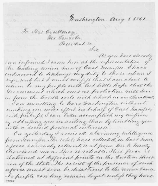 William B. Carter to Abraham Lincoln, Thursday, August 01, 1861  (East Tennessee Unionists)