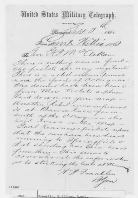 William B. Franklin to G. B. McClellan, Sunday, September 08, 1861  (Telegram regarding military affairs)