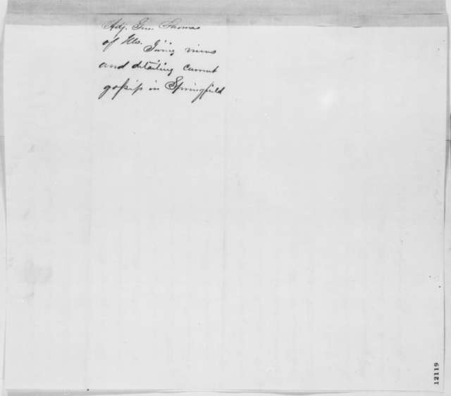 William B. Thomas to Abraham Lincoln, Saturday, September 28, 1861  (Funds to supply the Illinois troops)