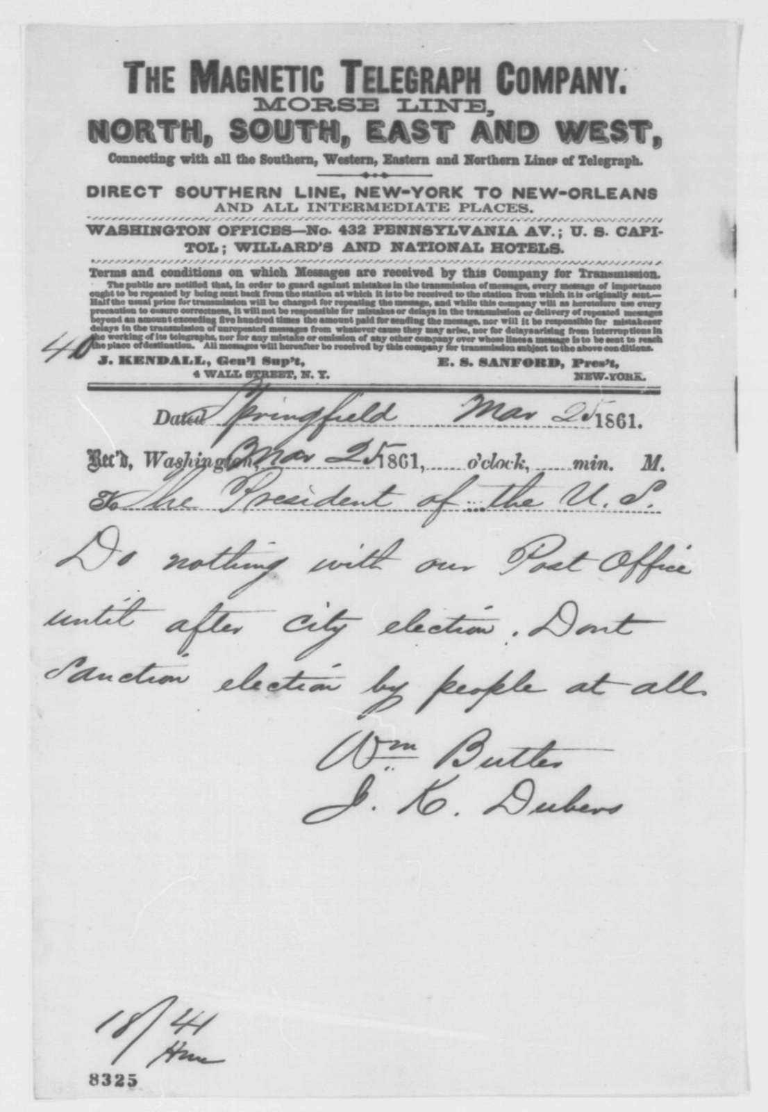 William Butler and Jesse K. Dubois to Abraham Lincoln, Monday, March 25, 1861  (Telegram regarding Springfield post office)