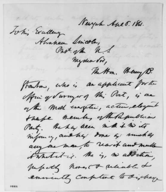 William C. Noyes to Abraham Lincoln, Saturday, April 06, 1861  (Recommendation)