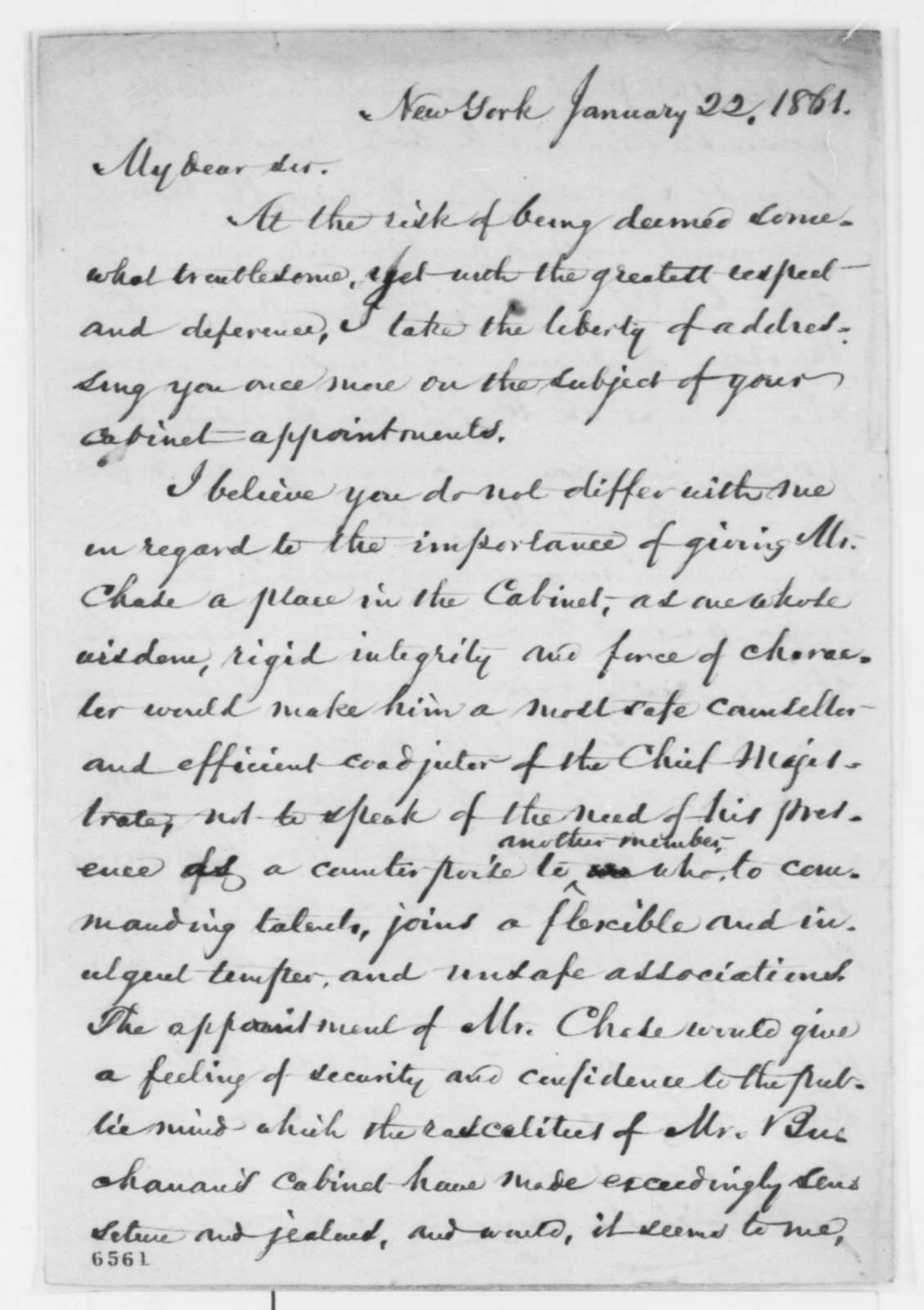 William Cullen Bryant to Abraham Lincoln, Tuesday, January 22, 1861  (Recommends Chase for cabinet)
