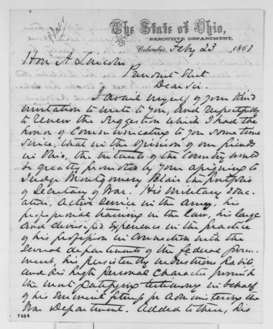 William Dennison to Abraham Lincoln, Saturday, February 23, 1861  (Recommends Montgomery Blair for cabinet)