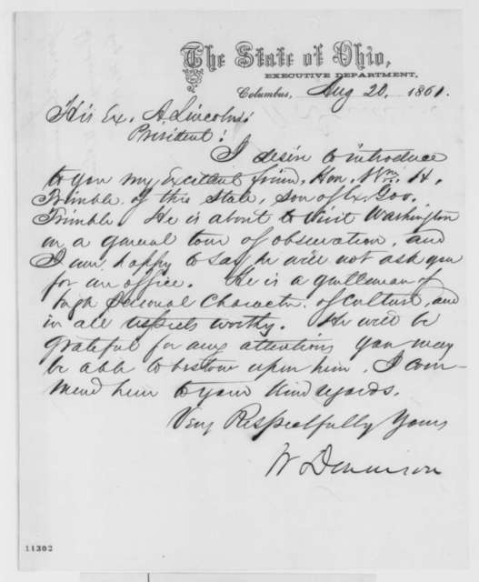 William Dennison to Abraham Lincoln, Tuesday, August 20, 1861  (Introduction)
