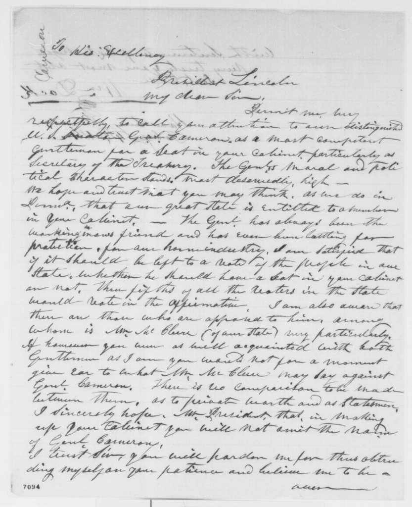 William Dock to Abraham Lincoln, Monday, February 04, 1861  (Recommends Cameron for cabinet)