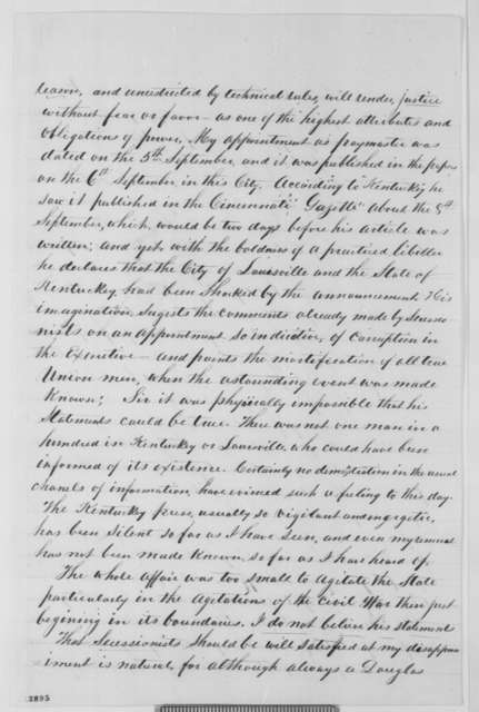 William E. Culver to Abraham Lincoln, Friday, November 08, 1861  (Seeks reinstatement to position in War Dept.)