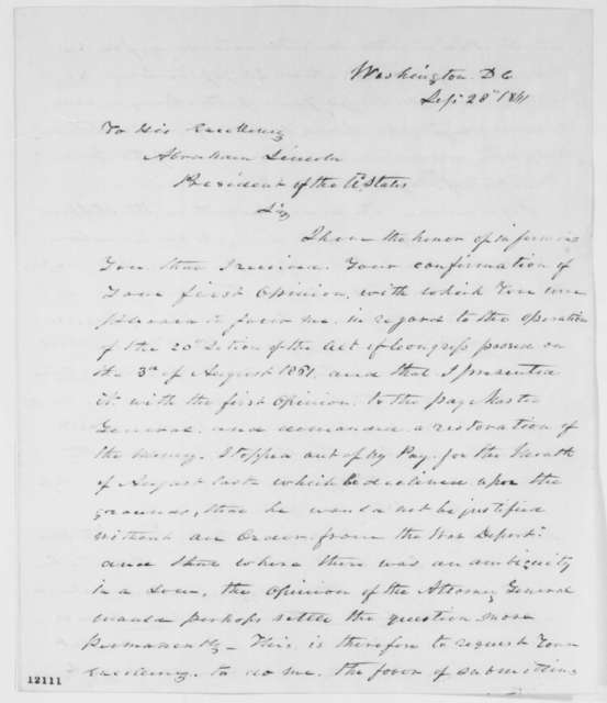William Gates to Abraham Lincoln, Saturday, September 28, 1861  (Seeks pay from army)