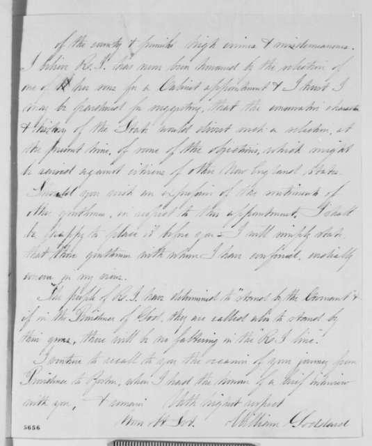 William Goddard to Abraham Lincoln, Wednesday, January 02, 1861  (Recommendation for Thomas Jenckes)