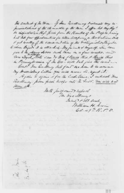 William H. Irwin to Abraham Lincoln, Tuesday, October 15, 1861  (Military advice)