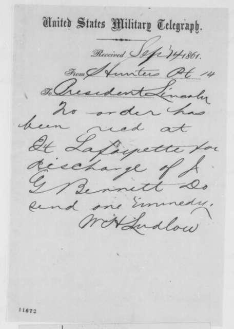 William H. Ludlow to Abraham Lincoln, Saturday, September 14, 1861  (Telegram regarding release of prisoner at Ft. Lafayette)